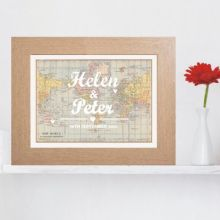 Personalised Coloured Typography Wedding Map Print - Unique Wedding or Anniversary Gift